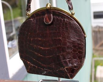 Antique Deitsch Alligator Top Handle Purse Handbag