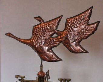 Vintage Table Top Copper and Brass Weathervane with Flying Geese