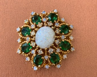 bfdfd8bf1 Stunning Vintage Signed Panetta Opal Emerald Stone Brooch Pin
