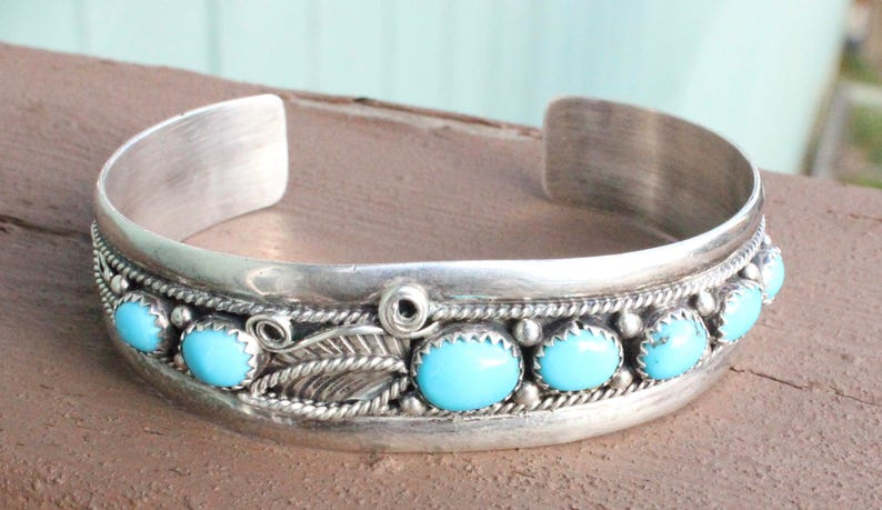 Vintage  Native American Turquoise and Sterling Silver Cuff Bracelet Turquoise Signed J