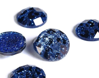 12mm Blue Leopard cabochon - Animal print cabochons - Cheetah cabochon - 12mm faceted cameos - Glitter cabochons (1720)