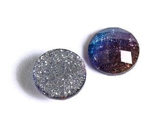 10 x 12 mm /'SILVER Glitter/' Flat backed Acrylic Cabochons 528