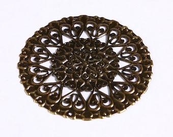 50mm Antique brass large round filigree charm - Antique brass flower filigree pendants (905)