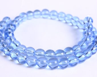 6mm blue beads - 6mm round beads - 6mm glass beads (283)