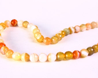 "15"" 6mm Mixed color cream yellow striped agate faceted round gemstone beads - 60 pieces (1211)"