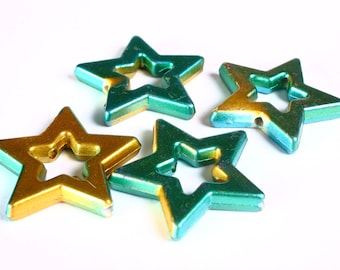 Green and gold large star beads 39mm  - 4 pieces (1375)2)