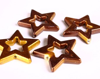 Brown and gold large star beads 39mm  - 2 pieces (1374)