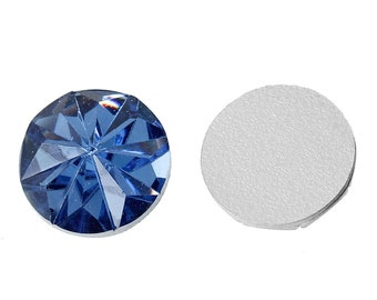 12mm Royal blue faceted round resin cabochon - 12mm Acrylic rhinestone cabochon - Textured cabochons (1533)