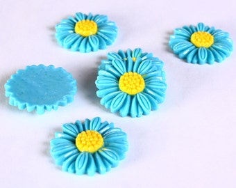 27mm Blue daisy cabochons - 27mm flower cabochon - Sunflower cabochons - 6 pieces (629)