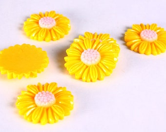 6pc 27mm lucite rose resin flower cab cabochon daisy yellow 6 (632)