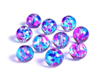 10mm Blue and hot pink spotted round glass beads - Multicolor spot pattern glass beads (1502*)
