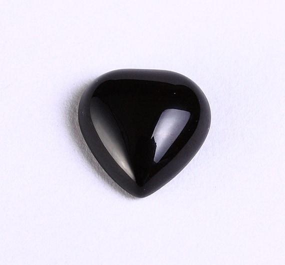 4 Cabochon De Pierre Prcieuse Agate Noir En Forme Coeur