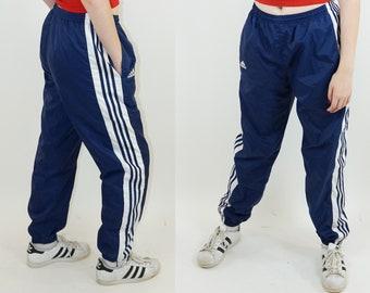 Adidas Side Stripe 90s Blue Athletic Pants, Millenial Y2K Striped Pants, 90s Sport, Women's Size Large