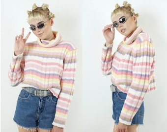 Pastel Late 90s Rainbow Chenille Sweater, 90s Turtleneck Sweaters, 90s Long Sleeve Tops, 90s Boho, Women's Size X-Large