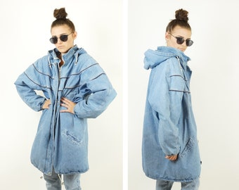Denim 90s Long Line Bomber Jacket, 90s Grunge Vintage Denim Duster, Vintage Winter Jackets, Women's Size Large