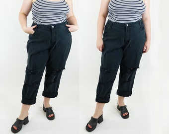 Shredded Black 90s L.A. Blues High-Waisted Grunge Jeans, Vintage Mom Jeans, Tapered Leg Vintage Denim, Women's Size 26WT (Plus Size)