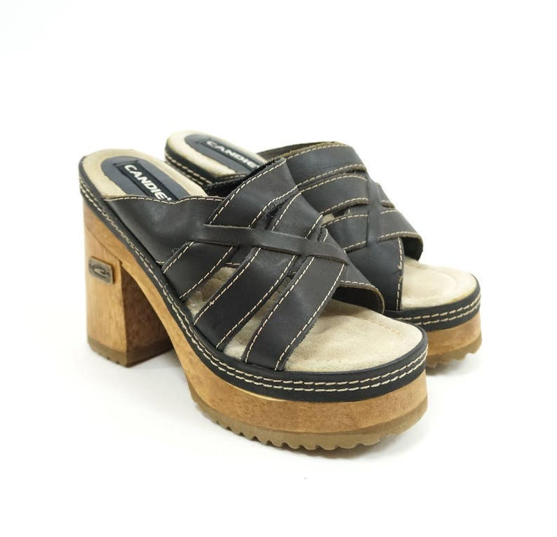 1499ebdeeb6d Candies 90s Black Leather Braided Strappy Platforms 90s