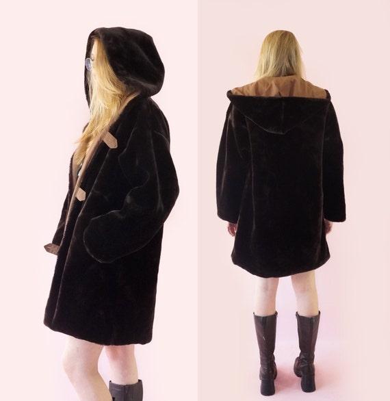 80s Coat Bomber Women's Medium Hooded Coat Small Fur Clothing Chunky Fur Duster Reversible Faux Vegan Size Vintage AvBxdA