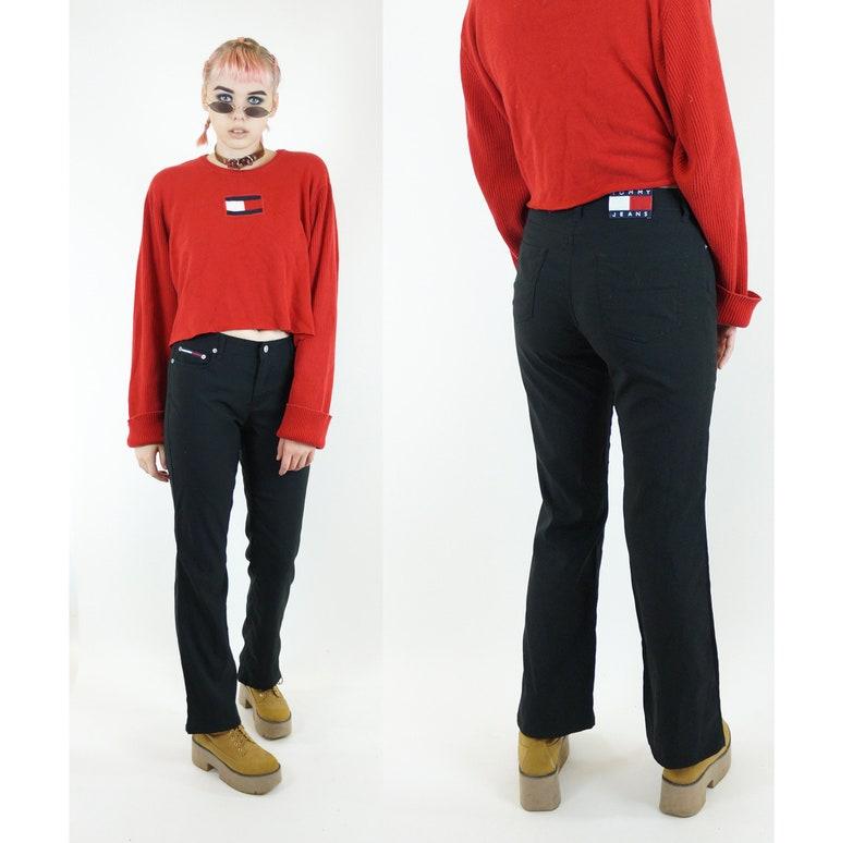 0f77e72d Tommy Jeans Black 90s Low Rise Flared Pants Vintage 90s | Etsy