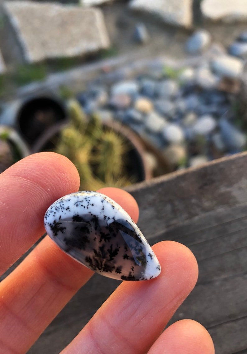 Dendritic Opal Black white stones Painting stone Merlinite Dendrite stones Dendrite Cabochon