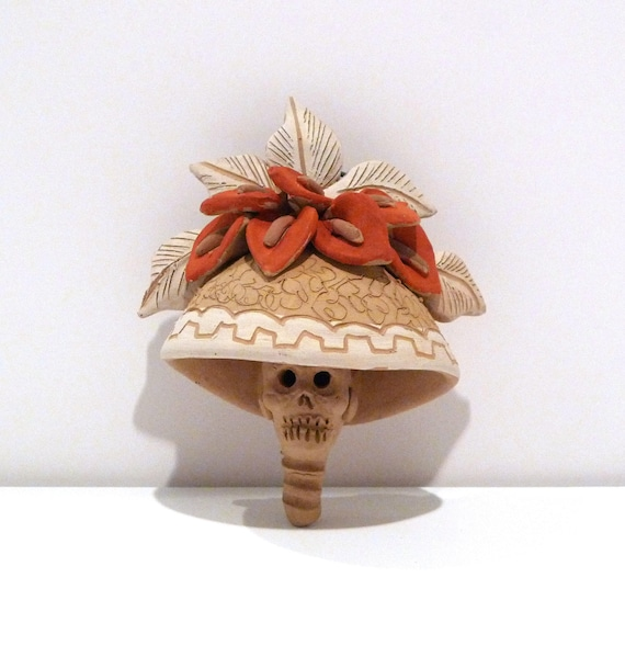 Catrina Skull Vintage Calla Lily Day of the Dead Folk Art  c6e29c393b8