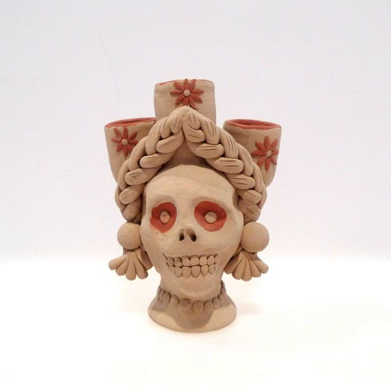 Catrina Skull Candle Holder Vintage Day of the Dead Folk Art  ed5ddcd6290