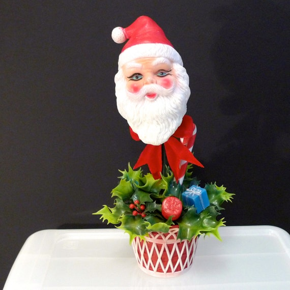 Lot Of 5 Vintage Christmas Decorations Kitsch Santa Claus: Plastic Santa Vintage Christmas Santa Table Centerpiece