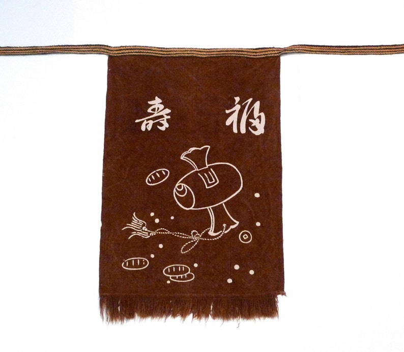 Japanese half apron Vintage Brown Uchide No Kozuchi Magic Wand for Money apron Congratulations Celebrating Good Fortune Kitchen Bar Cook