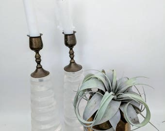 Pair of Vintage Lucite and Brass Candlesticks