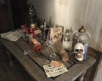 Apothecary dollhouse miniature harry potter style tale with accessories