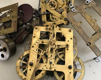 Antique mantle clock parts steampunk supplies gears brass gears for arts and crafts lamp parts