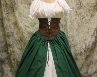 Green Renaissance Costume-Halloween Costume-Medieval Dress-LARP-Ren Fair-Steampunk-SCA-Adult Costume-Medieval Fantasy Dress-Item #168