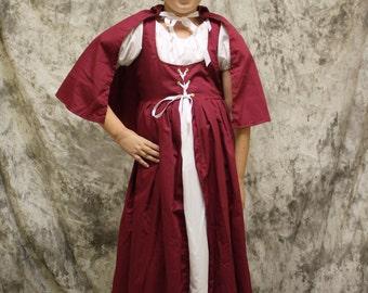 Child Red Riding Hood Costume Set-Red Riding Hood Halloween-Little Girls Costume-Dress and Cape-Dress Up Costume-Renaissances Dress