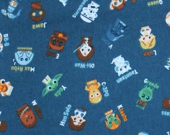 STAR WARS ABC/'s 100/% Cotton Flannel Fabric Darth Vader Yoda FQ 18x22