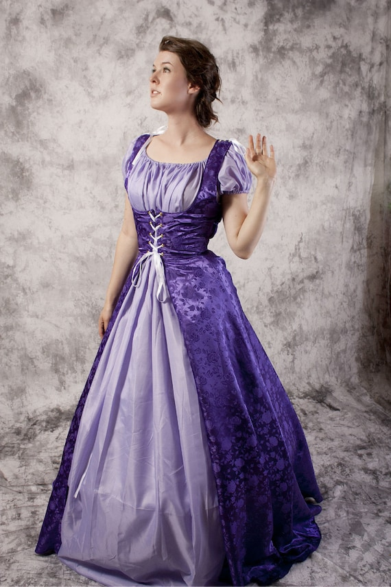 Vestido púrpura Renacimiento Medieval vestido Chemise Set