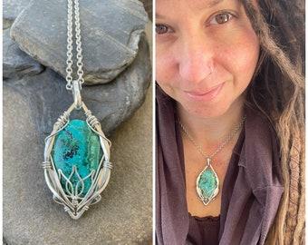 Wire Wrapped Necklace Sweet Water Silver Wire Wrap Quartz Arc Necklace Wire Wrap Jewelry Boho Necklace Quartz Jewelry