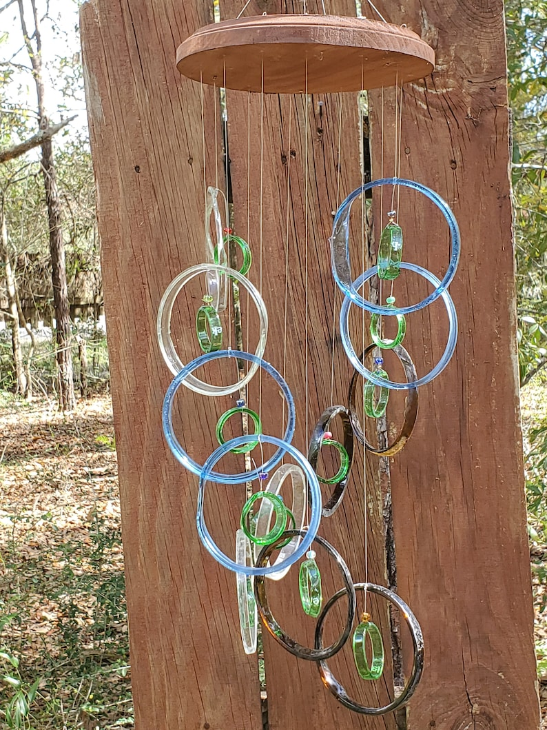 GLASS WINDCHIMES from RECYCLED bottles garden decor mobiles green clear windchimes musical wind chimes