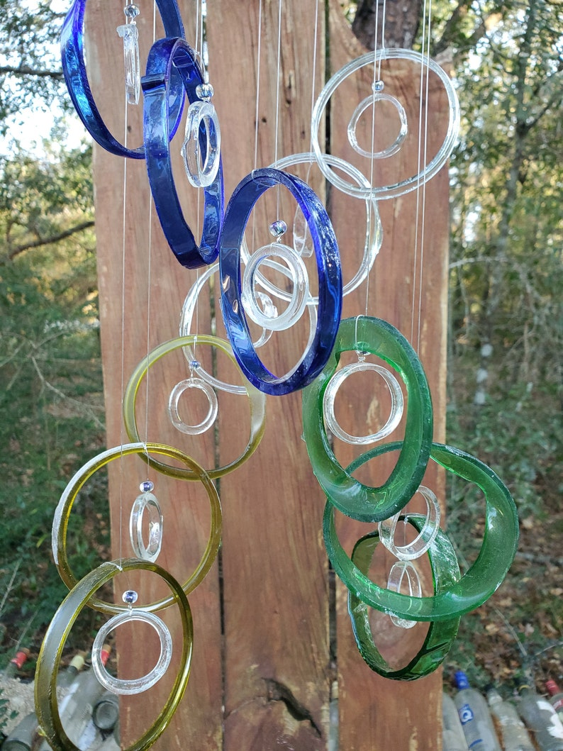 mobiles blue wind chimes clear windchimes handmade double helix DNA wind chime from bottles garden decor lt blue yellow
