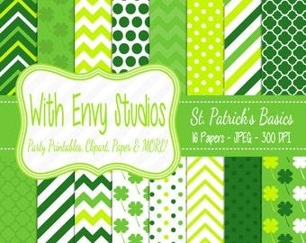 SALE  St. Patricks Day Digital Scrapbook Paper Pack - St. Patricks Scrapbook Paper Set - Green Digital Paper,