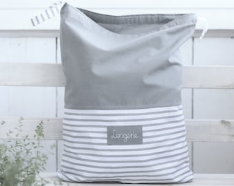 Linen anniversary gift Travel Underwear Organizer Bag Laundry Bag Shoe Bag Briefs Navy Purple Striped Linen Drawstring Bag Socks
