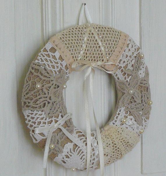 Items Similar To Shabby Chic Wreath, Home Decor Wreath