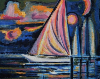 Original acrylic painting on primed canvas.  Whimsical evening sailboats.