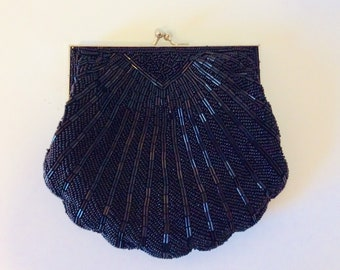 86226d3afac6a Black beaded 1920s bag evening purse clutch gatsby style victorian with  satin interior and silver shoulder strap vintage antique