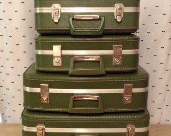 Beautiful vintage avocado green luggage set of four suitcases, two train cases / Vintage wedding decor 50s 60s 70s retro style