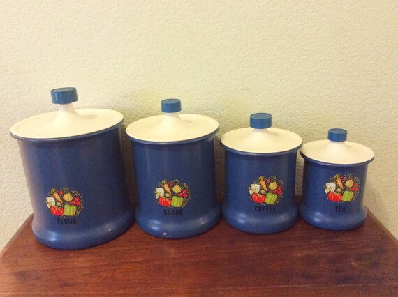 Vintage Blue Kitchen Canisters Set of Four Flour, Sugar, Coffee, Tea & Cute  Retro Design / Blue and White Dishes Kitchen Storage 50s 60s 70s