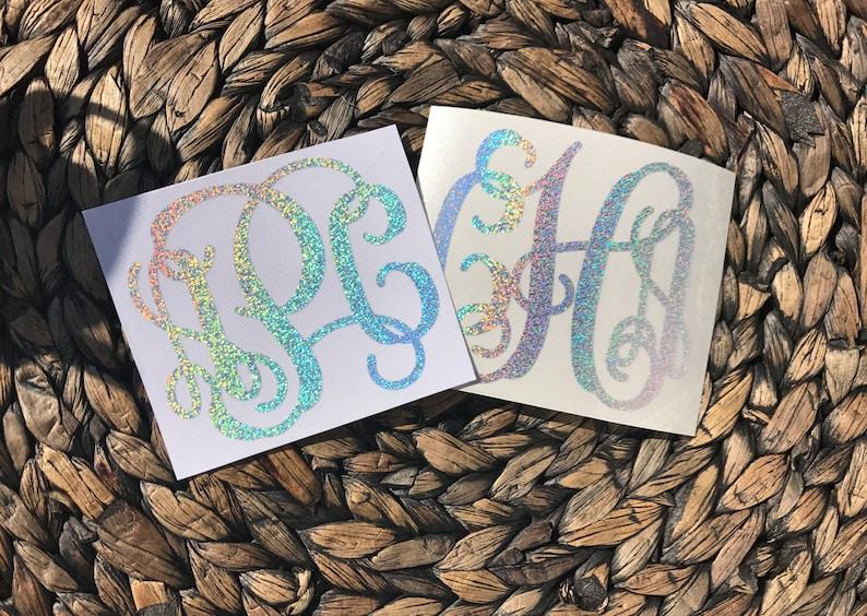 Glitter Monogram Vinyl Decal Yeti Monogram Phone Monogram image 0
