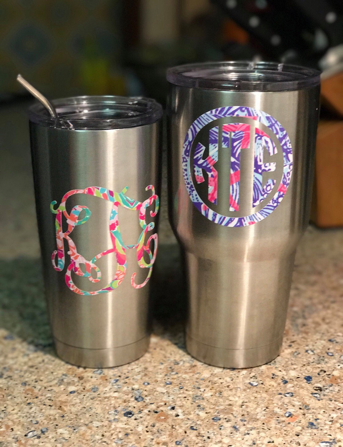 1cba60a67a3 Lilly Pulitzer Inspired Vinyl Monogram Decal FREE SHIPPING Yeti ...