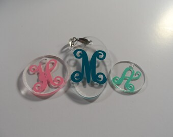 "Personalized Acrylic Necklace Pendant with Initial 1.25"" CIRCLE FREE SHIPPING"