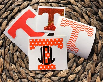 Tennessee Vols Inspired Vinyl Decal With or Without Personalizing FREE SHIPPING Lilly Pulitzer Glitter Gold Foil Chevron Polka Dot