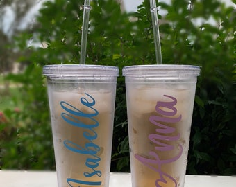 16oz Clear Cup with Straw Personalized Tumbler Wedding Party Bridesmaid Birthday Cup Kids Christmas Gift